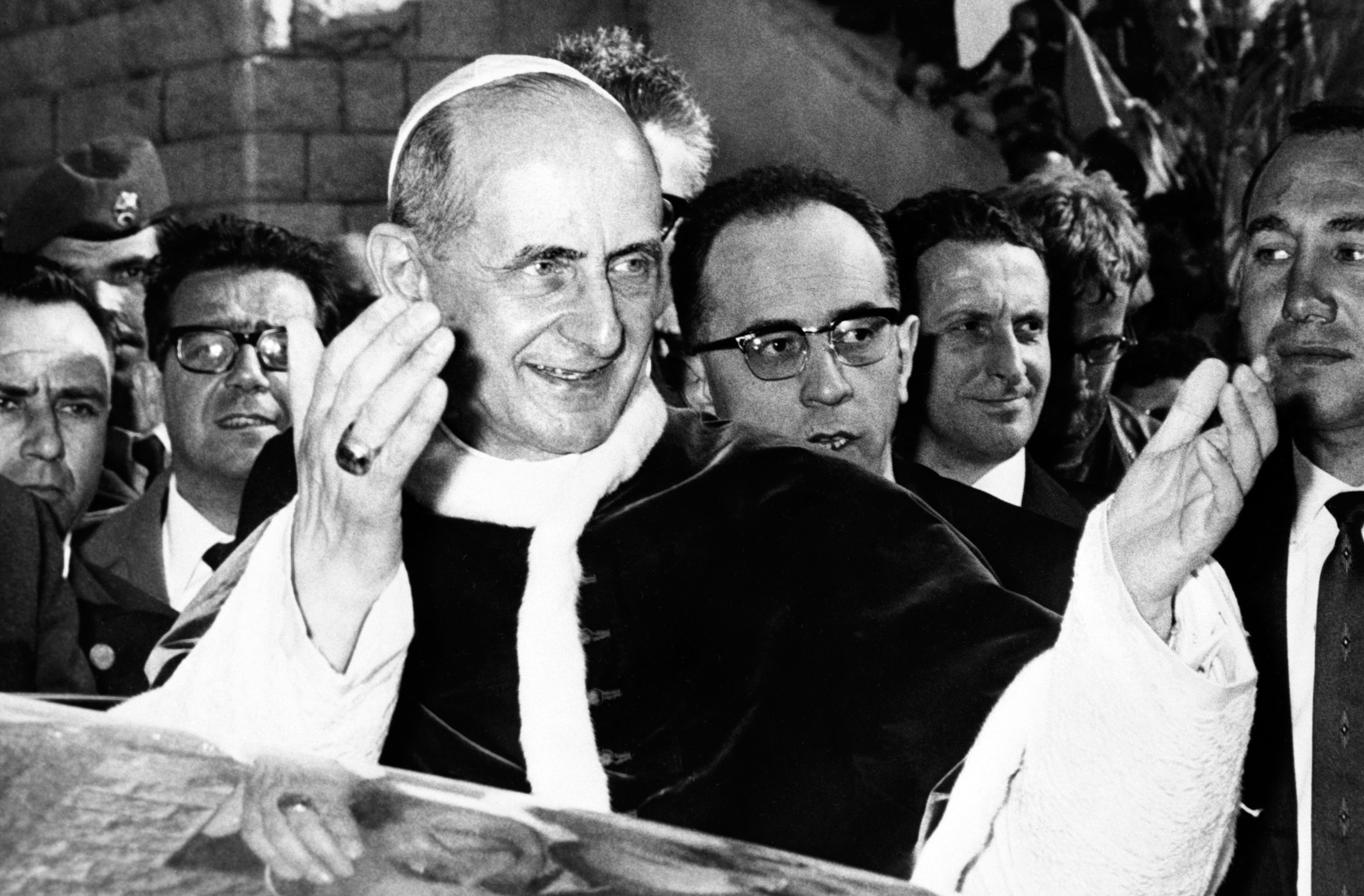 Pope Paul VI leaves the Basilica of the Annunciation in Nazareth after celebrating a mass, on January 05, 1964, during his visit to the Holy Land. It is the first visit ever of a pope to the Holy Land (Jordan, Israel, Jerusalem and the Palestinian territories).