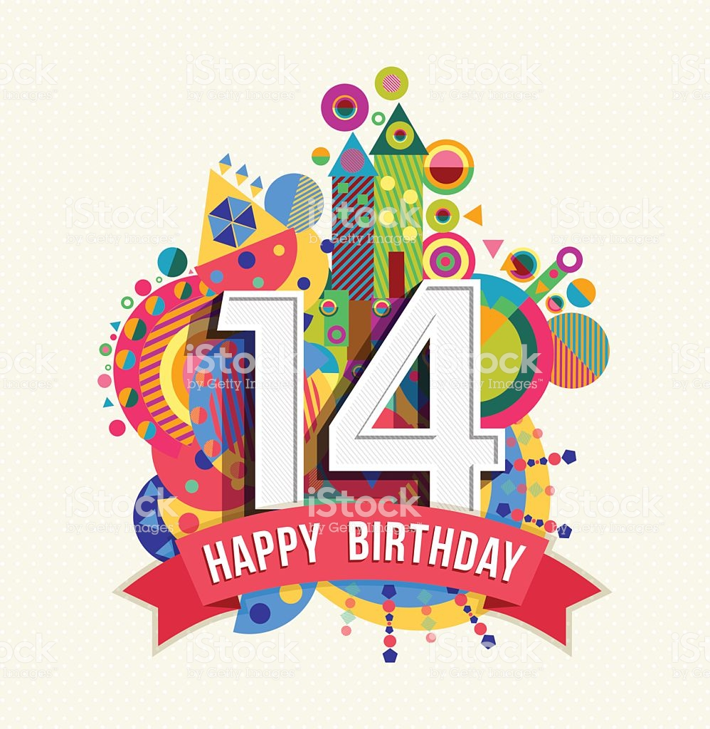 Happy Birthday fourteen 14 year, fun celebration greeting card with number, text label and colorful geometry design. EPS10 vector...